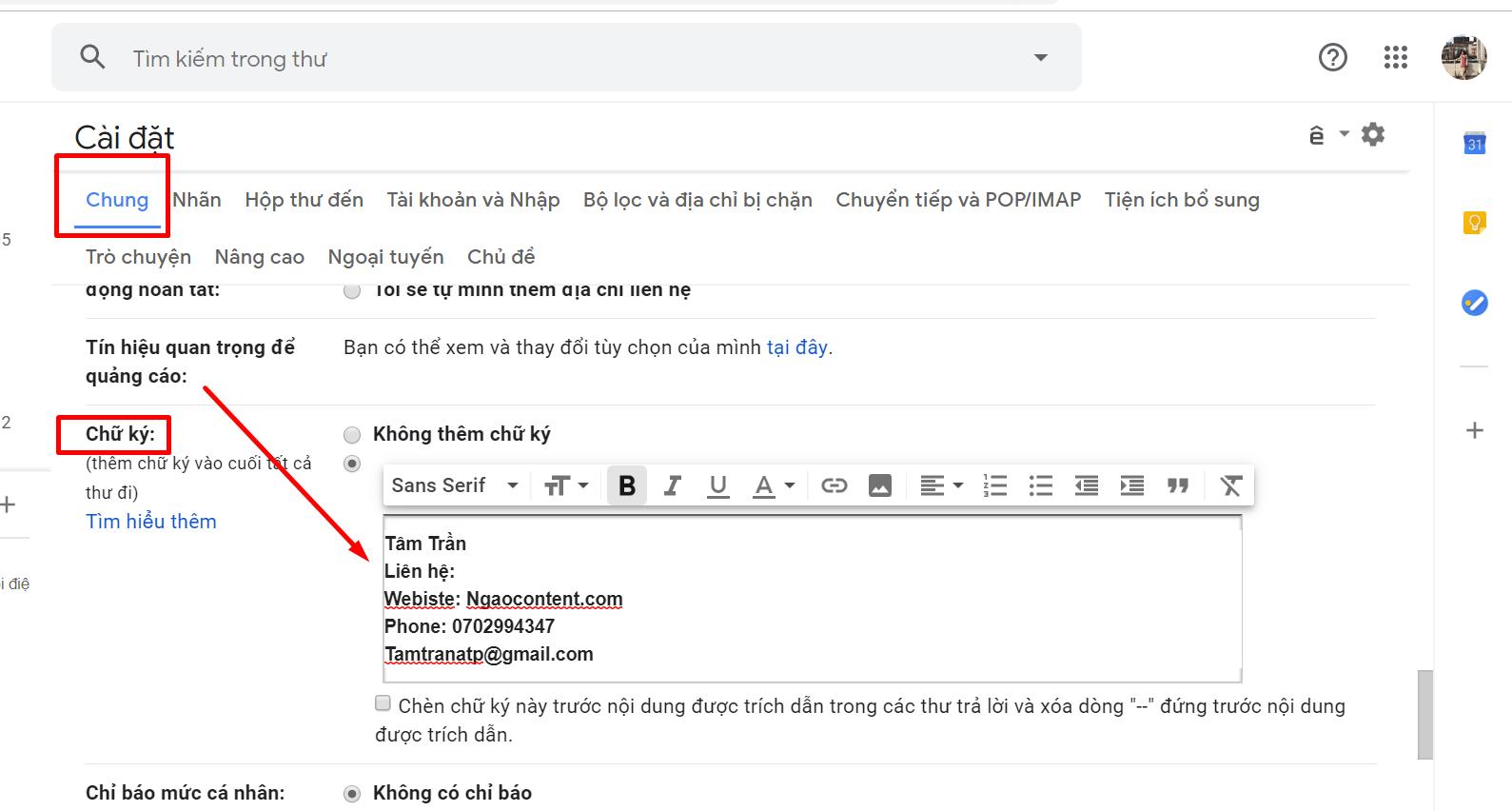 Tao Chu Ky Trong Gmail