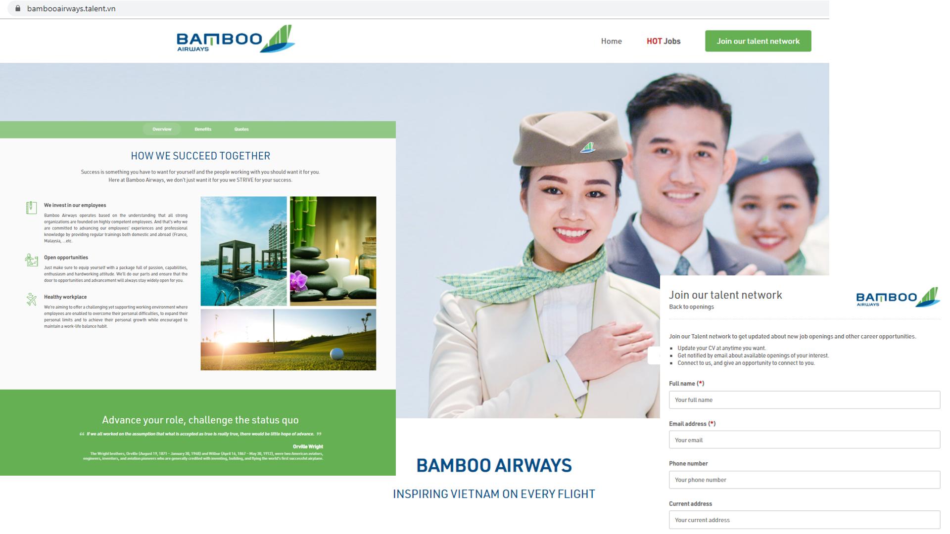 Mẫu Websitetuyển nhân viêncủa Bambo