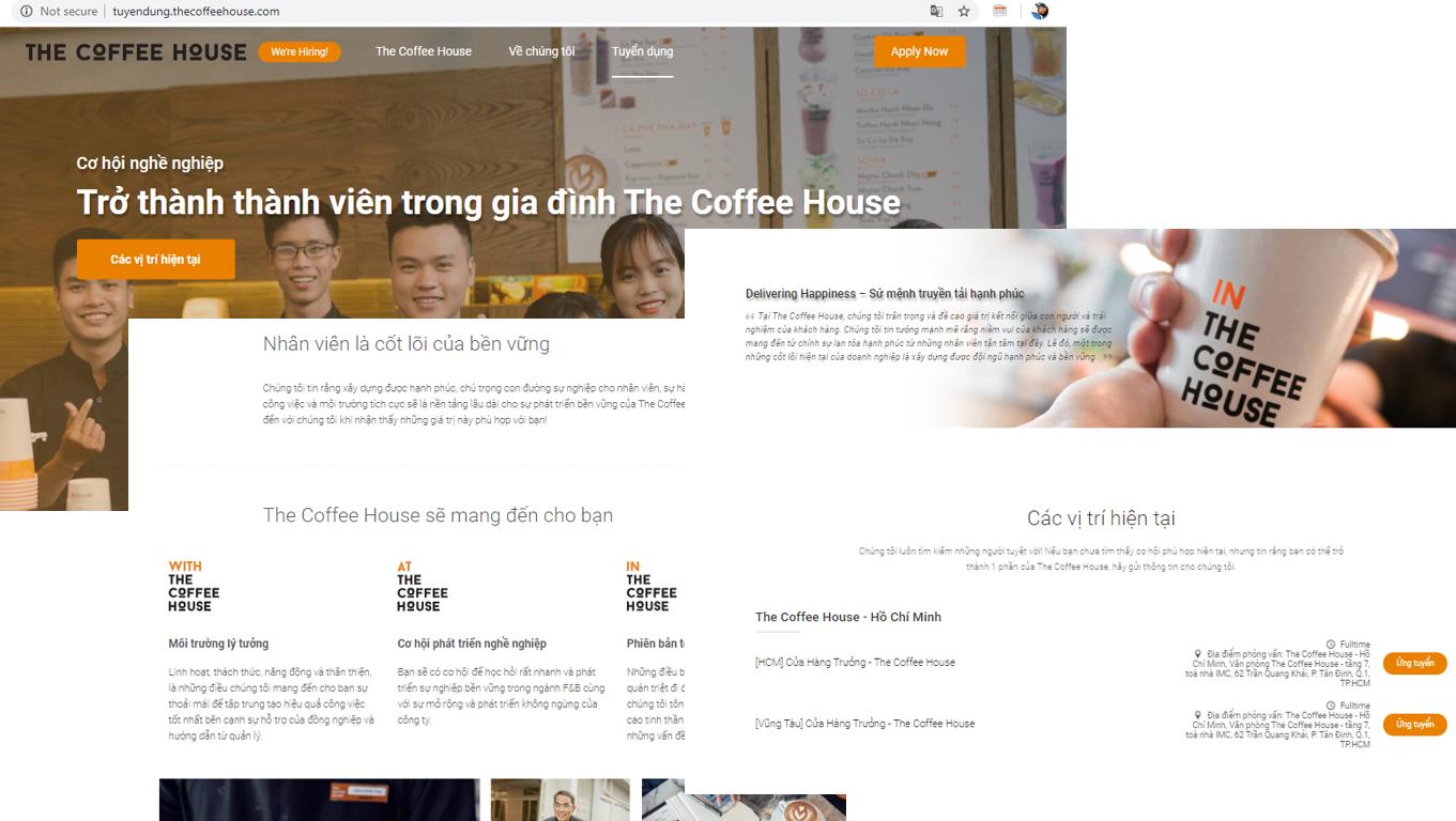 Mẫu Websitetuyển nhân viêncủa The Coffee House