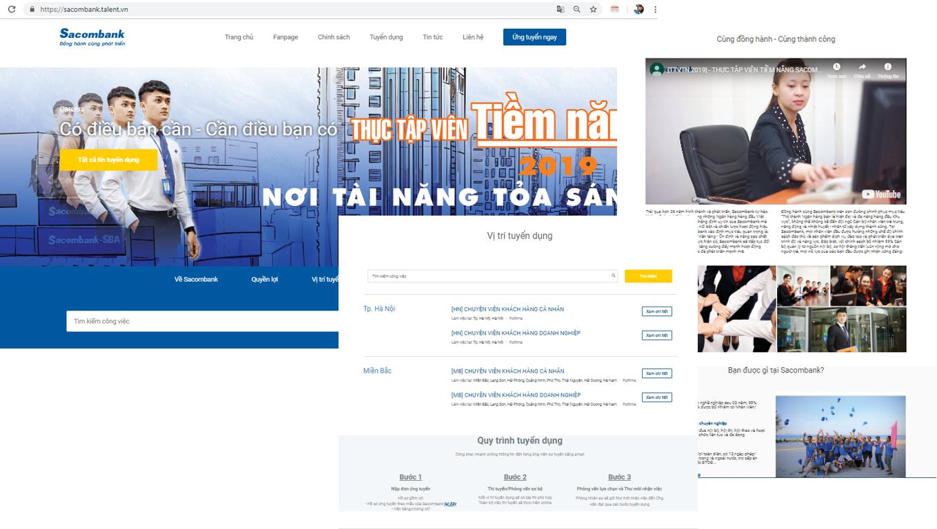 Mẫu Websitetuyển nhân viêncủa Sacombank