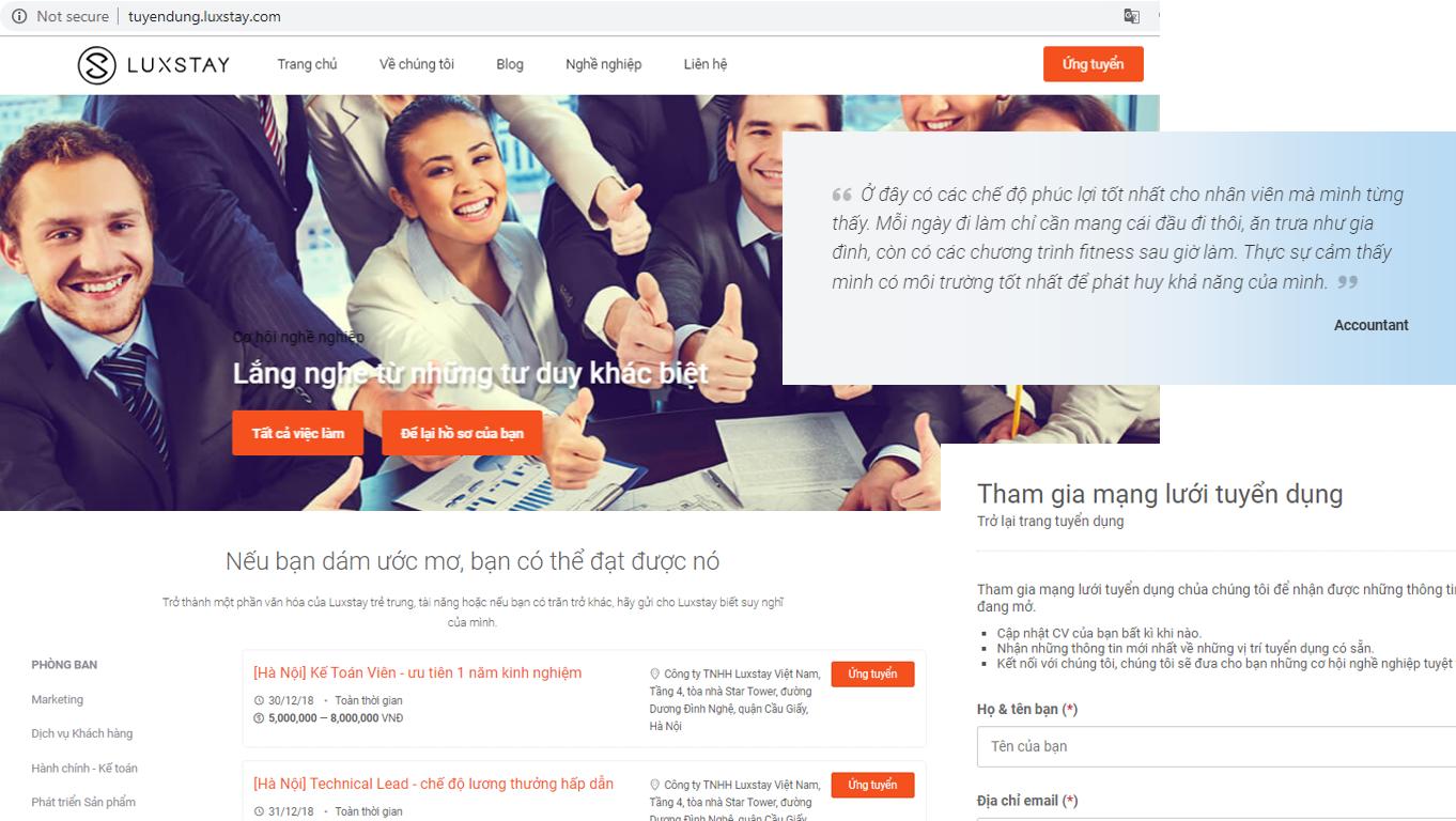 Mẫu Websitetuyển nhân viêncủa Luxstay
