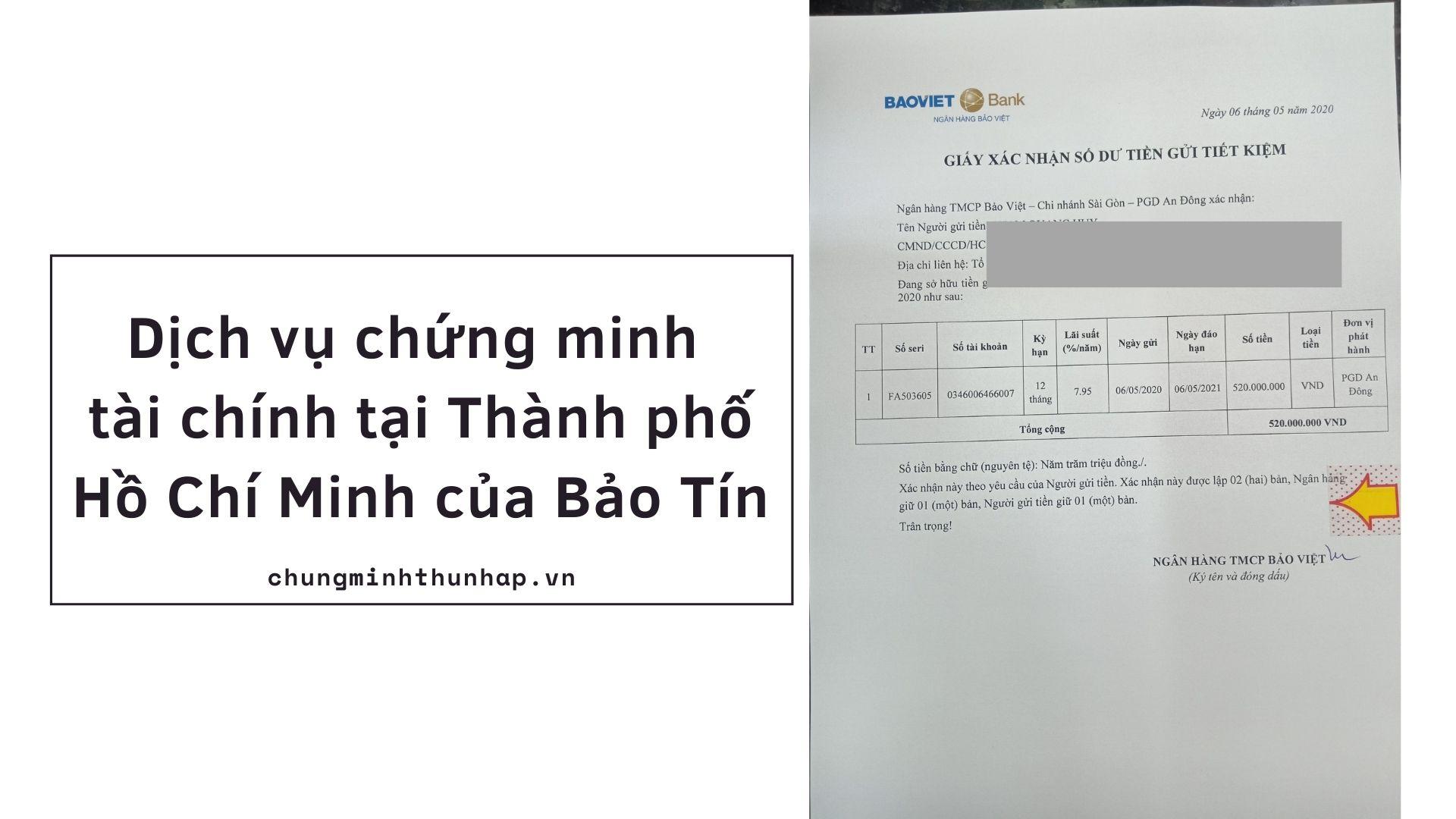 Dịch vụ chứng minh tài chính tại Thành phố Hồ Chí Minh của Bảo Tín